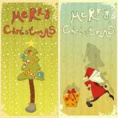 Conjunto retrô de cartão de natal — Vetorial Stock