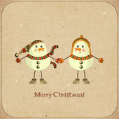 Two snowmen on a retro background — Stock Vector