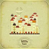 レトロなカード - 漫画の小さな町 — ストックベクタ