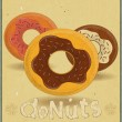 Donuts on Retro Card — Stock Vector #13393860