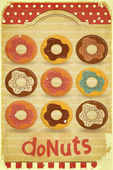 Donuts Menu on vintage background — Stock Vector