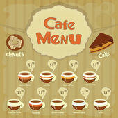 Cafe Menu Card with types of coffee — Stock Vector