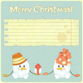 Two snowmen on vintage background — Stock Vector