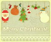 Oude ansichtkaart van kerstmis met kerstboom versieringen — Stockvector