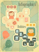 Cartel retro - hobbies — Vector de stock