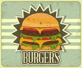 Retro Cover for Fast Food Menu — Stock Vector