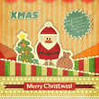 Stock Vector: Christmas cards with Santa