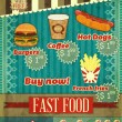 Stock Vector: Vintage fast food Menu