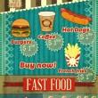 Vintage fast food Menu — Stock Vector