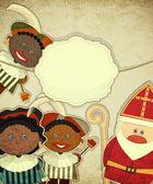 Christmas card with Dutch Santa Claus - Sinterklaas — Stock Vector