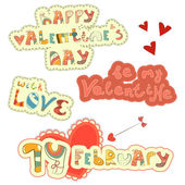 Set of Hand Lettering for St. Valentine — Stock Vector