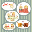Valentines Day, set of stickers — Stock Vector