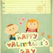 Vintage Design Valentines Day Card — ストックベクタ
