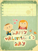 Vintage Design Valentines Day Card — Vettoriale Stock