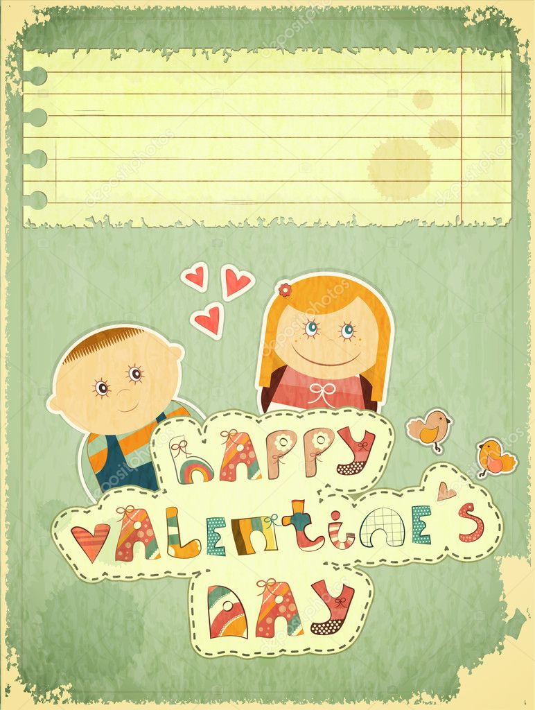 Vintage Design Valentines Day Card with Cartoon Boy and Girl with hand Lettering -  Happy Valentines Day - and place for text, vector illustration. — Stock Vector #15844533