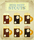 Vintage Beer Card. Stouts. — Stock Vector
