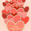 Retro Valentines Day Card with Hearts — ストックベクタ