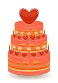 Valentines Cake on White Background — Stok Vektör