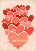 Retro Valentines Day Card with Hearts — Stock Vector