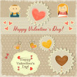 Stock Vector: Vintage Valentines Day Card with Sweet Hearts