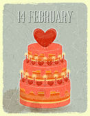 Valentines Cake on Grunge Background — Stockvector