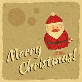 快乐圣诞复古卡与圣诞老人 — 图库矢量图片