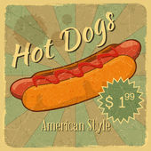 Grunge Cover for Hot Dogs Price — Stock Vector