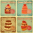 Set of Retro Cards with Cake — Imagen vectorial