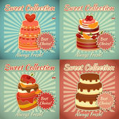 Set of Retro Cards with Cake — Stok Vektör