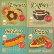 Set of Retro Menu Cards — Stock Vector