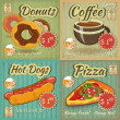 Stock Vector: Set of Retro Menu Cards
