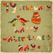 Valentines Day Retro Card - Imagen vectorial