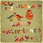 Valentines Day Retro Card — Stock Vector