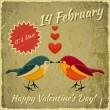 Vintage Valentines Day Card - Stock Vector