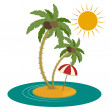 Palm Trees and Island on White Background — Stock Vector