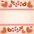 Greeting Valentines Card with Sweet Hearts - Stock Vector