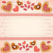 Greeting Valentines Card with Sweet Hearts — Stock Vector