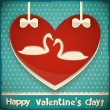 Valentines Card with Swans — Stockvectorbeeld