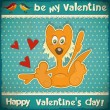 Valentines Day Retro Card - Stockvectorbeeld