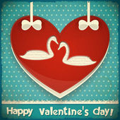 Valentines Card with Swans — Stock Vector