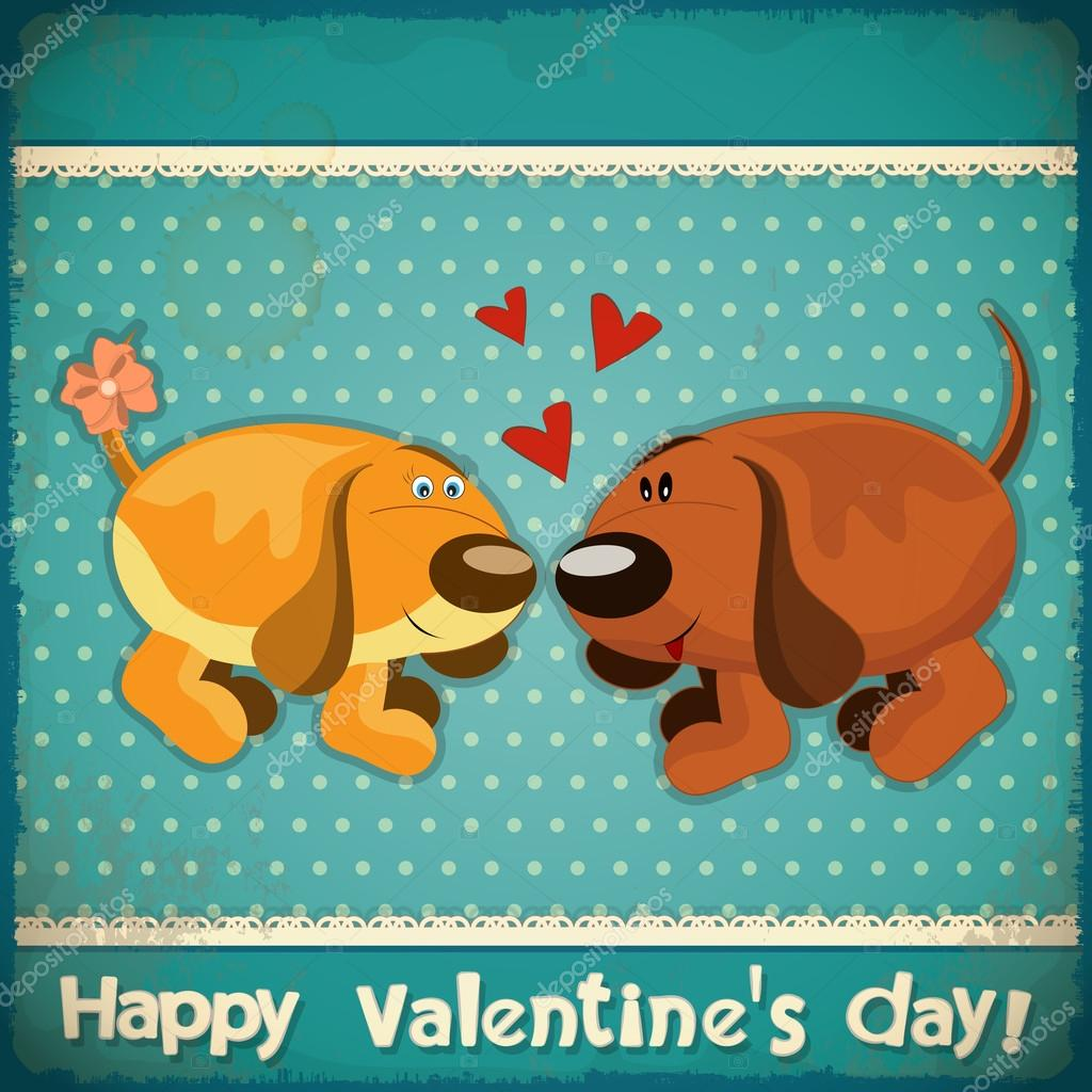 Valentines Day Vintage Card with cartoon dogs and hand lettering in Retro style - vector illustration — ベクター素材ストック #19022133