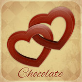 Retro Card with Chocolate Hearts — Stock Vector