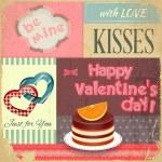 Vintage postcard rétro pour la Saint Valentin — Vecteur