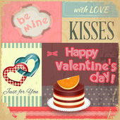 Vintage Retro Postcard to the Valentines Day — Vector de stock