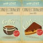 Vintage two Cards Cafe confectionery dessert Menu — Stock Vector
