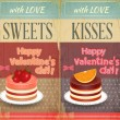 Vintage Retro two Cards to the Valentines Day — Imagen vectorial