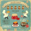 Cafe Confectionery Menu Retro Design — Stock Vector