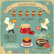 Stock Vector: Cafe Confectionery Menu Retro Design