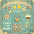 Retro Card with Easter Set — Stock Vector