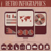 Retro Infographic Phone Design — Stock Vector